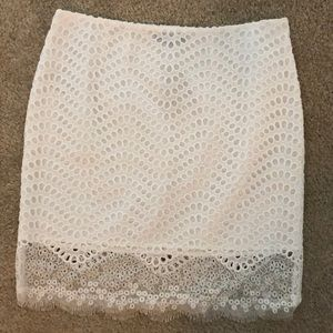 White Eyelet  and lace Skirt